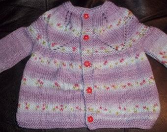 Lilac Baby Sweater Cardigan  made with Wonder Yarn Fair Isle Effect