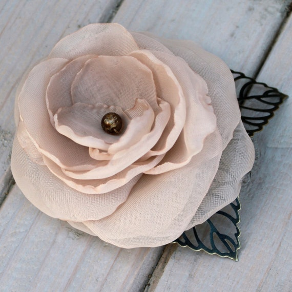 Champagne Flower Hair Clip with Handmade Petals and Bronze Leaves