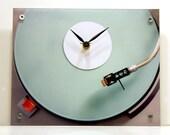 Dorm Clock : Green Mint Pastel Retro Record Player Back to School Wall Clock