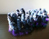 Azure and Purple Recycled Sweater and Fun Fur Fiber Art Sculpture Sea Urchin