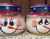 Snowman Glass Salt and Pepper Shakers Upcycled Hand Painted