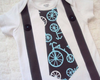 Boys Tie and Suspender Shirt, Tie and Suspender Bodysuit - Bicycle Toddler Tie Shirt