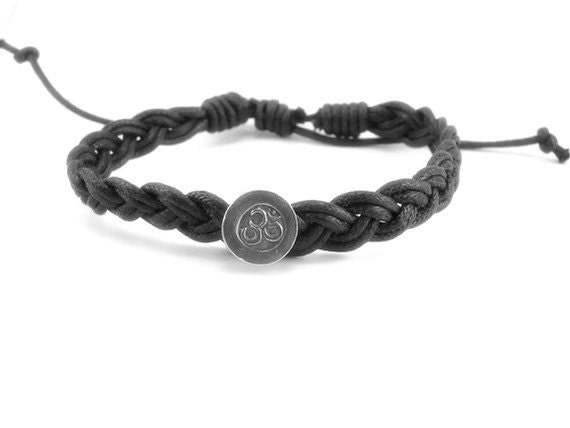 Mens OM silver Leather bracelet - Harmony - Yoga inspired jewelry - Gifts with meaning