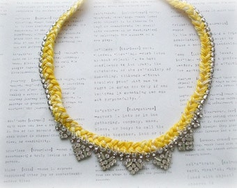 Vintage Rhinestone Necklace with Yellow Braid