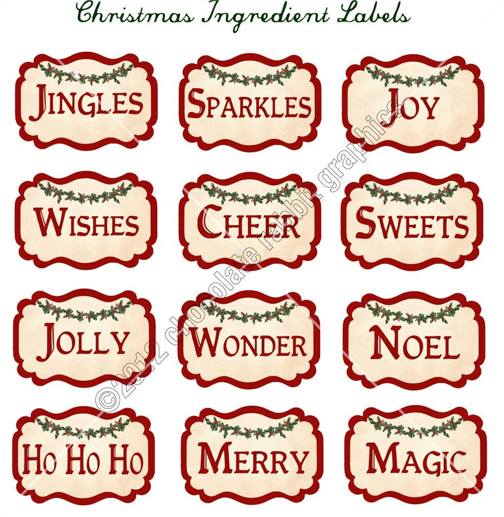 Vintage Christmas Ingredient Labels Digital Download Collage