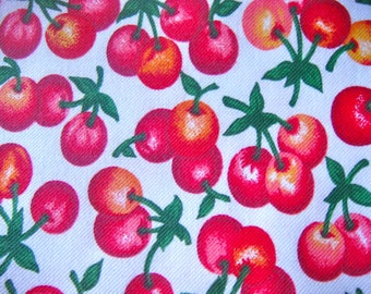 Rainier Summer Cherries Cotton Twill Fabric OOP Remnant 32 x 36