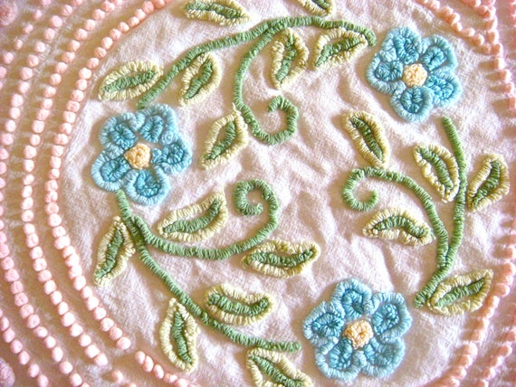 Pink Pops and Aqua Daisies Vintage Chenille Bedspread Fabric 41 x 27 Inches