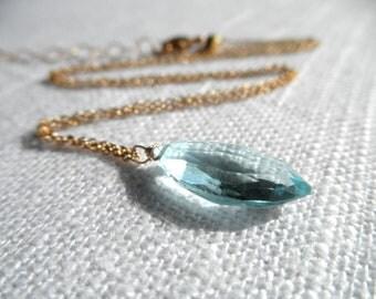 Blue necklace - Swiss blue topaz necklace - gold necklace - A M E L I A 270