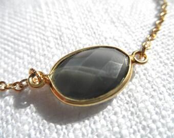 Opaque smoky quartz bracelet - gray bracelet - smoky bracelet - gold bracelet - K A T E 161