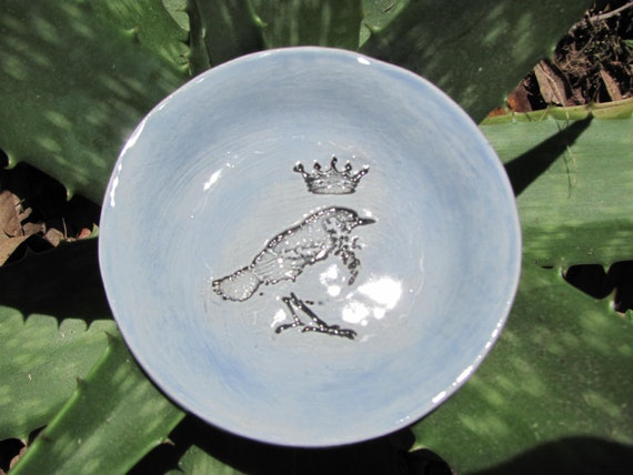 bowl, ring dish, jewelry holder, aqua, bird with crown