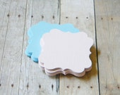 DIY Textured Baby Blue or Baby Pink Fancy Bracket  Placecards, Cupcake Toppers, Buffet Table Cards Set of 50