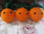 Christmas in July-Clementines for kitchen play - set of three - can be strung for garland and mobiles