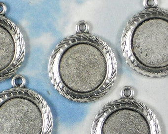 10 Round 11mm Bezel Charms Mounting Diamond Cut Edge Silver 18mm Pendant Settings - Clay or Resin Frame (P854)