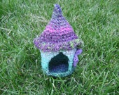 Gnome House. Elf, Fairy Hobbit Woodland Forest Waldorf Inspired Home. Hand crocheted. MINI home. Free Shipping