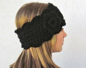black headwarmer headband earwarmer womens flower - adjustable size half hat