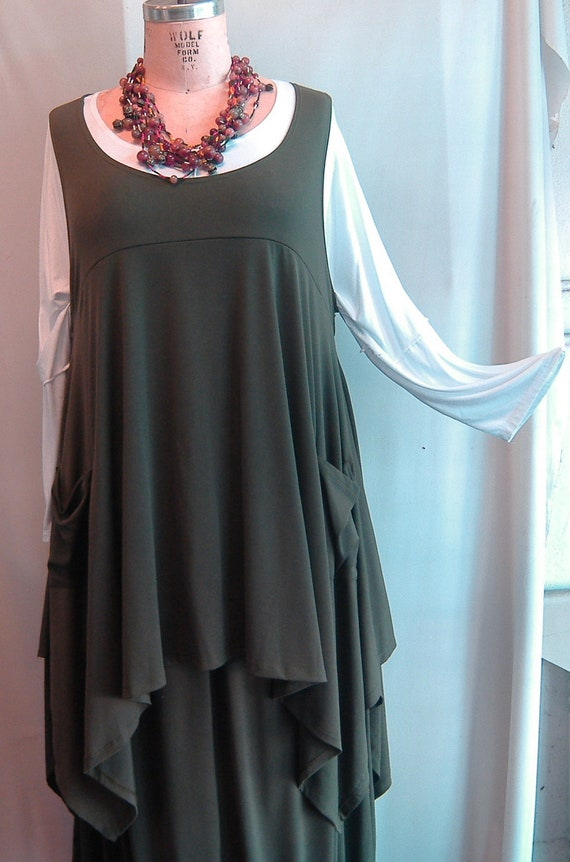 Coco and Juan Plus Size Top Lagenlook Layering Tunic Top Olive Green Traveler  Knit Size 1 Fits 1X,2X  Bust  to 51 inches