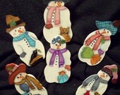 6 Piece Set Of Handpainted Ornaments  Snow Folks
