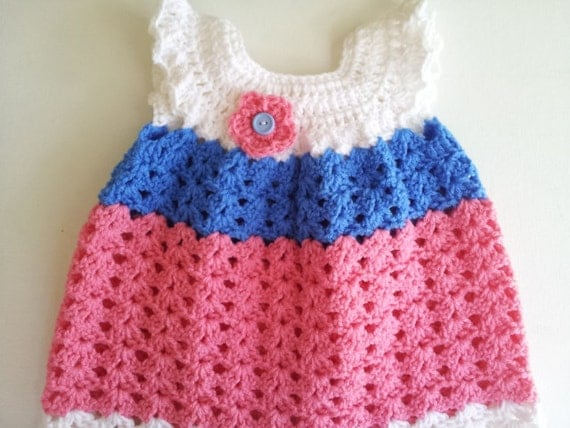 Classic Baby Girl Crochet Pinafore - Baby Girl Crochet Dress - 6 to 9 Months - Ready to Ship
