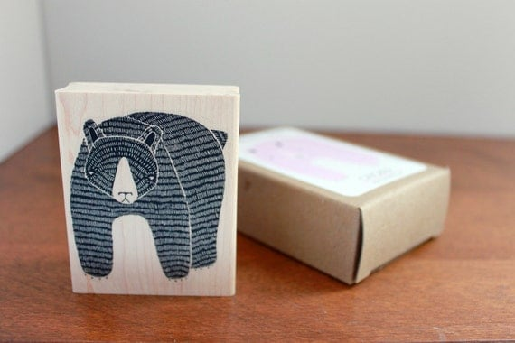 SALE - Large  Rubber Stamp - February Bear Wood Mounted Stamp