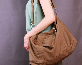 Sale 20% OFF-Ready To Ship-Coffee Color Tote/Shoulder bag/messenger bag/diaper bag/purse/handbag/laptop bag/school bag/For Her/For Him-062