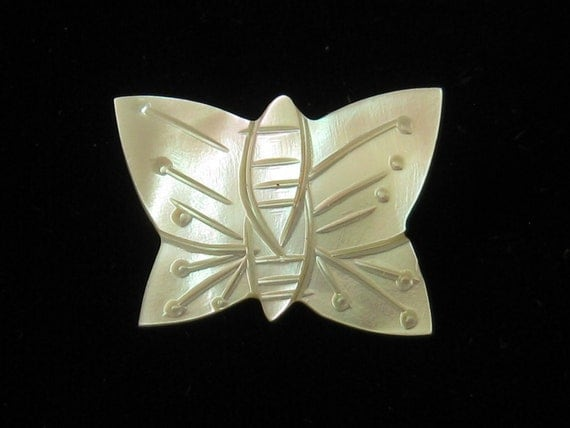 Vintage Mother of Pearl Carved Butterfly Pin Brooch 1950s