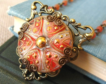 Peppermint Princess - Red white brass filigree necklace - Elysia