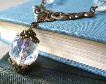 Rainbow Mist - Clear iridescent glass brass necklace - Elysia