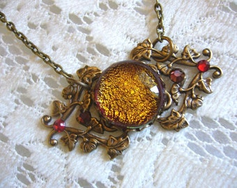 Fire Red Victorian Pendant And Necklace