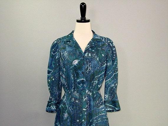 SALE---Vintage 70s Dress / Secretary / BLUE LEAF / s-m