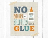 Back to School Poster: No Glue Sniffing - Teacher Appreciation, School, Plaid, Humorous, Funny Quote - Navy Blue, Orange, Turquoise 11 x 14