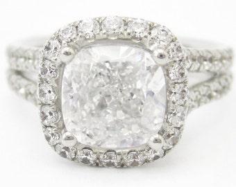 2.14ctw CUSHION cut antique style split shank diamond engagement ring C28