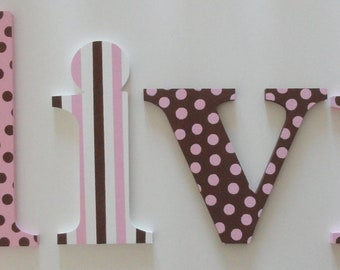 Pink, Brown and White Wall Letters