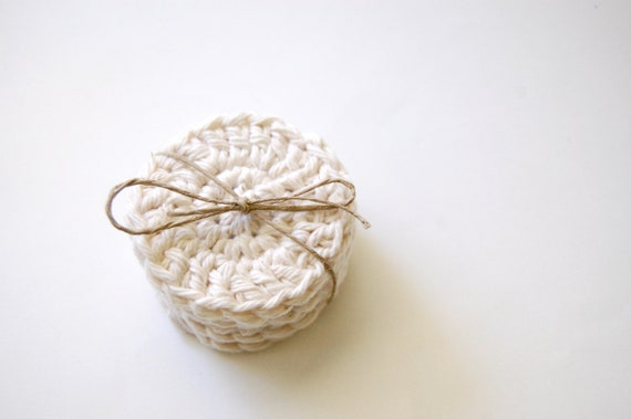 Crochet Face Scrubbies, Set of 6, Off-White, Cotton