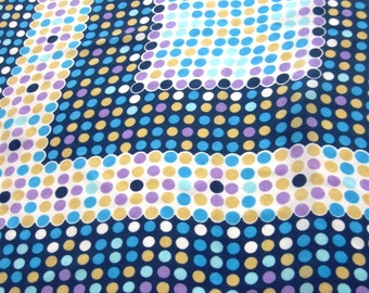 Vintage Silk Scarf Polka Dot Designer Lehner Switzerland Aqua Yellow Purple 1960s