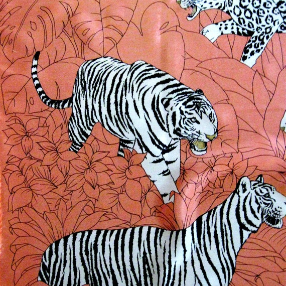 Vintage Scarf Silk Neckerchief Jungle Print Leopards Tigers Coral Black White Gold