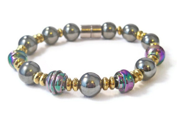 Hematite Beaded Bracelet w/ Iridescent Glass Beads, Magnetic Bracelet, Magnetic Hematite Jewlery, Good Health Jewelry, Healing Jewelry