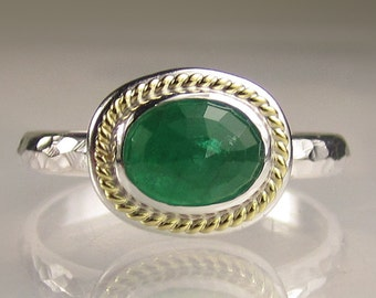 Rose Cut Emerald Ring, Sterling Silver and 18k Yellow Gold, Custom Emerald Ring