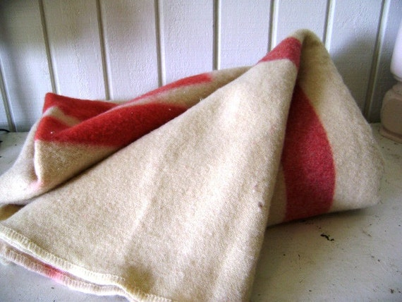 RESERVED for Susan, Vintage Wool Camp Blanket, Monogram M or W, Red Stripe, Classic warmth, Nanook of the North