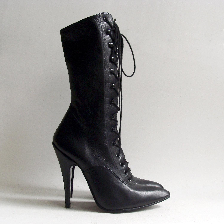 heels 5 5 black leather boots burlesque