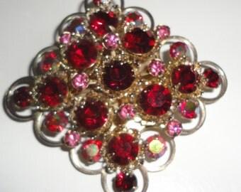 Vintage Red and Pink Crystal Brooch.