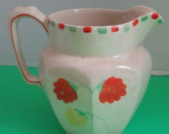 Vintage  Price Bros. Pitcher with hand painted flowers