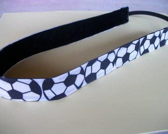 Soccer Non-Slip Headband,.  Black and White Soccer Ball  Print  and Velvet Head band, Adjustable Non Slip Sports Headband. Sports Team Band