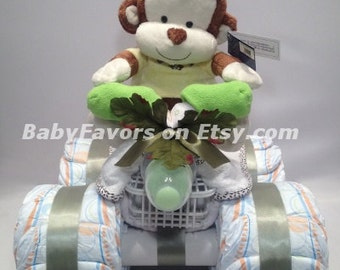 4 Wheeler Diaper Cake in many  colors - great gift for Baby Shower