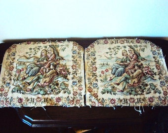 Vintage Tapestry Seat Covers Pillow Victorian Rhinestones Quilted