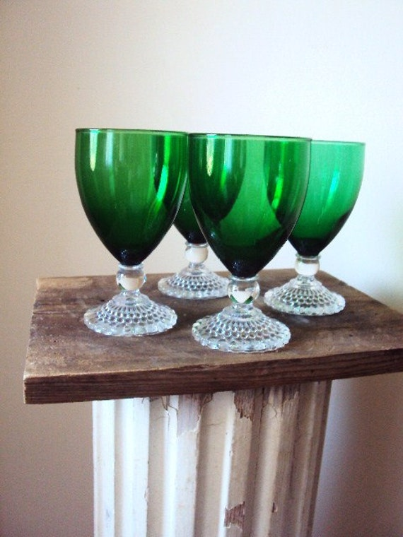 Vintage Green Glass Stemware Wine Glasses With Bubbled Clear