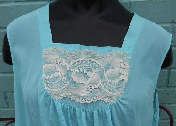 SALE Tiffany Blue Stardust Feminine Lacy Nightgown L/XL