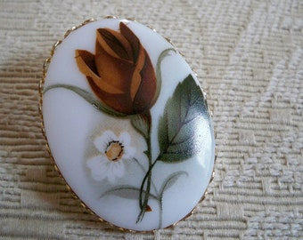 Vintage Jewelry Hand Painted Rose Brooch Rose Lover