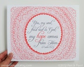 Bible Verse, Hope, Scripture, Illustration, Wall Art, Home Decor, Psalm, Inspiring Quote 8 x 10 Art Print, Coral