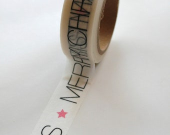 Washi Tape - 15mm - Merry Christmas Star on White - Deco Paper Tape No. 385