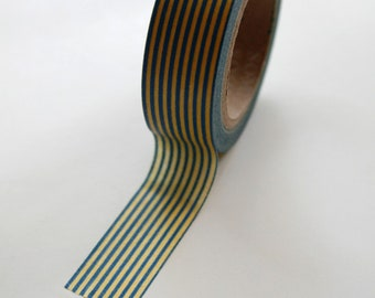 Washi Tape - 15mm - Blue and Yellow Vertical Stripes - Deco Paper Tape No. 364